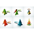 Set of Christmas tree geometric designs vector image
