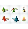 Set of Christmas tree geometric designs vector image vector image