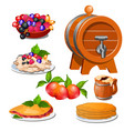 set of food products isolated on white background vector image vector image