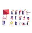 set of male characters holding banner builder vector image