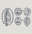 set of vintage marine black and white vector image vector image