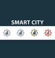 smart city icon set premium symbol in different vector image vector image