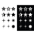 stars icons with shadow on black and white vector image