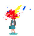 stressed woman with exploded head vector image vector image