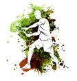 tennis player on watercolor background vector image vector image