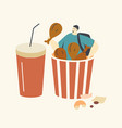 tiny male character sitting in huge bucket with vector image vector image