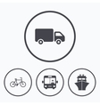 Transport icons Truck Bicycle Bus and Ship vector image