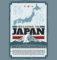 welcome to japan tokyo fuji mount travel vector image