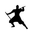 ninja warrior silhouette on white background vector image