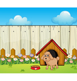A dog with a dog house inside the fence vector image vector image