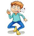A young boy biting his tongue vector image vector image