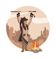 american indian cartoon in round icon vector image vector image