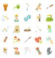 artisanal icons set cartoon style vector image