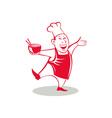 Asian Chef Serving Noodle Bowl Dancing Cartoon vector image
