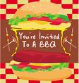 BBQ Party Big Burger invitation vector image