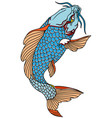 blue koi carp tattoo vector image
