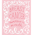 Breast cancer concept hand drawn typography poster vector image