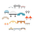 bridge icons set flat style vector image vector image