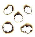burnt scorched paper hole on vector image