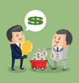 businessmens with money on cart vector image