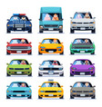 car front view auto automotive people man woman vector image