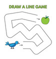 cartoon bird draw a line game for kids vector image vector image