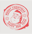christmas round red stamp with a happy santa claus vector image vector image