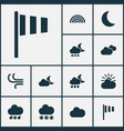 climate icons set collection of sun-cloud night vector image vector image