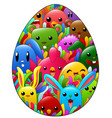 colored hand drawn ornamental easter egg with dood vector image vector image