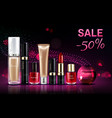 cosmetics beauty products for make up sale banner vector image