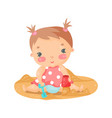 cute cartoon baby girl playing with sand colorful vector image vector image