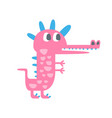 cute funny little pink dinosaur pehistoric animal vector image