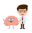 cute funny smiling doctor and healthy happy brain vector image vector image