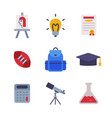 different school stationery and supplies set vector image vector image
