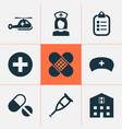 drug icons set collection of bandage mark nanny vector image vector image