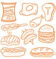 fast food doodle set vector image vector image