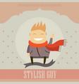 funny cartoon character stylish guy on lovely vector image