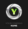 green letter y logo symbol in the silver circle vector image vector image