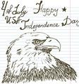 Hand drawn sketch American bald eagle text happy vector image