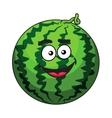 Happy cartoon green watermelon fruit vector image vector image
