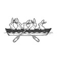 hare animals in boat sketch engraving vector image vector image