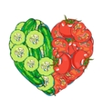 heart vegetables set vector image