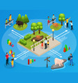isometric zoo infographic template vector image vector image