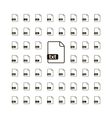 large set simple black file icons with most vector image