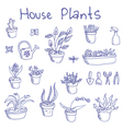 Liner pen hand drawn houseplants and garden tools vector image