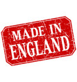 made in england red square grunge stamp vector image vector image