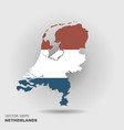 map and flag netherlands vector image