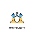money transfer concept 2 colored line icon simple vector image vector image