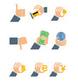nine businesmens hands vector image vector image