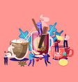 people drinking hot drinks male and female vector image vector image